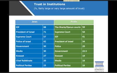 Israel's institutions are not popular, the Israel Democracy Institute has found.