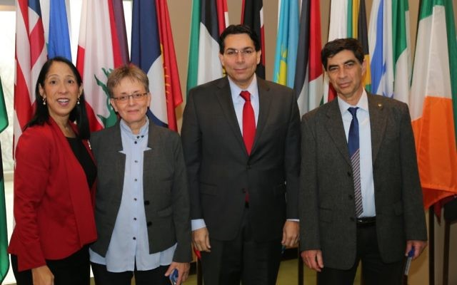 Photo courtesy of Israeli Mission to United Nations Leah Goldin (second from left) and Simcha Goldin (right), the parents of slain Israeli soldier Hadar Goldin, visit with Danny Danon, Israel's U.N. ambassador, and Michele Sison, the United States' deputy permanent representative to the United Nations.