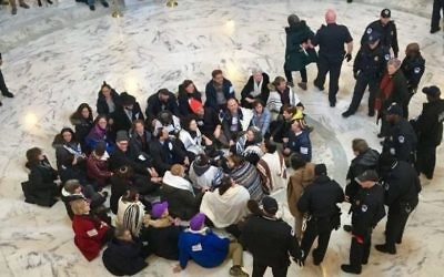 Rabbis and other Jewish activists call for the passage of a clean DREAM Act at the Russell Senate Office Building on Jan. 17.