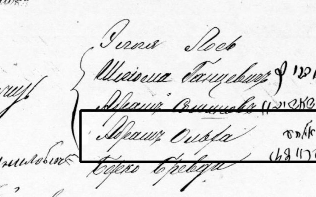 Gary Palgon's ancestor Abram Olka shows up on a voter roll from 1885.
