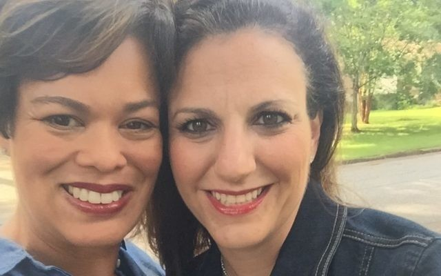 Nicole Wiesen (left) and Keri Kaufmann are shown in 2015 when they were both administrators of the Jewish Moms of Atlanta Facebook group, which Kaufmann co-founded. Now Wiesen has been removed from the group.