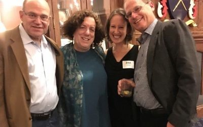 Shearith Israel President Rick Kaplan, Sharon Neulinger, and Ana and Eric Robbins are all smiles at the end of the evening.
