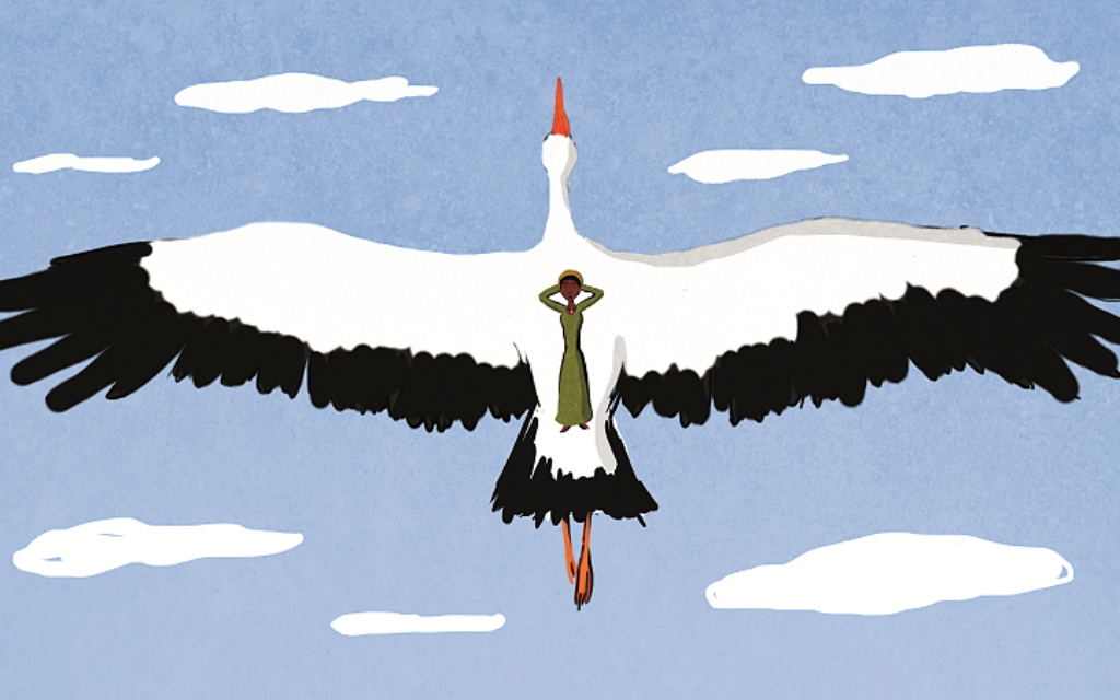 """One of the beautiful images from """"Shimala"""" is a dream of flying to Israel from Ethiopia on the back of a stork."""