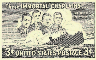 A U.S. stamp commemorates the Four Chaplains.