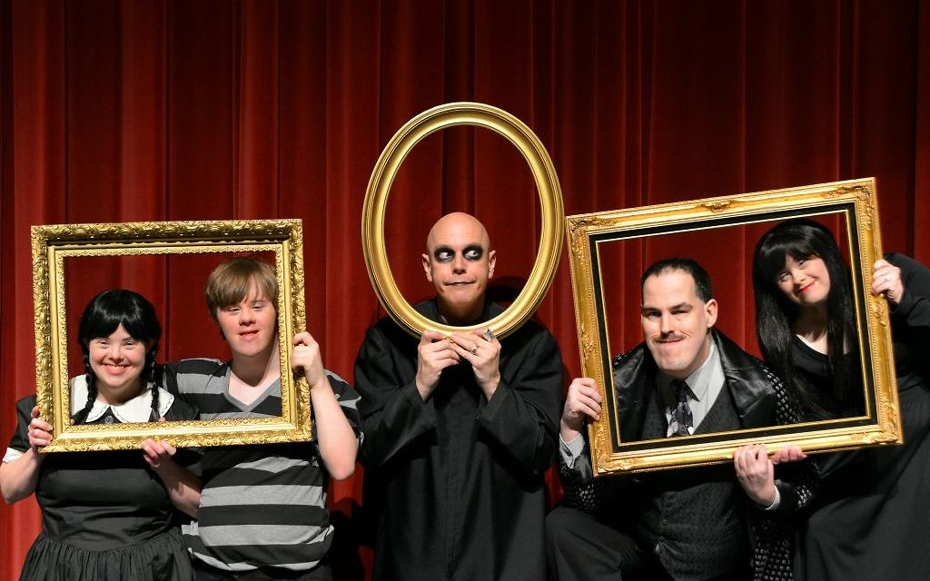 """Photo by Jennifer Sami """"The Addams Family"""" features (from left) Cynthia Outman as Wednesday, Sean Wyatt as Pugsley, Googie Uterhardt as Uncle Fester, Luke Davis as Gomez and Katie Rouille as Morticia."""