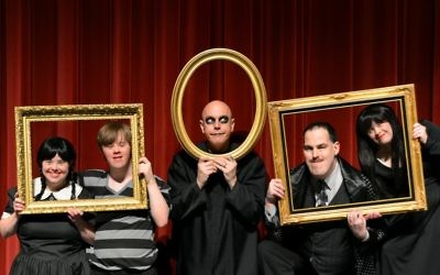 "Photo by Jennifer Sami ""The Addams Family"" features (from left) Cynthia Outman as Wednesday, Sean Wyatt as Pugsley, Googie Uterhardt as Uncle Fester, Luke Davis as Gomez and Katie Rouille as Morticia."