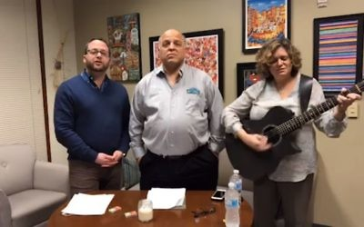 Rabbi Brad Levenberg, Camp Coleman Director Bobby Harris and Bunzl Family Cantorial Chair Beth Schafer lead a Facebook Live healing service Thursday night, Feb. 15, in response to the Parkland shooting. (Screen grab from Facebook)