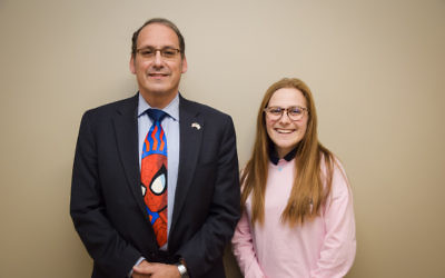 Rabbi Reuven Travis, a Dartmouth College alum who serves as the faculty adviser to the pro-Israel clubs at AJA, is Maayan Schoen's STAR teacher.