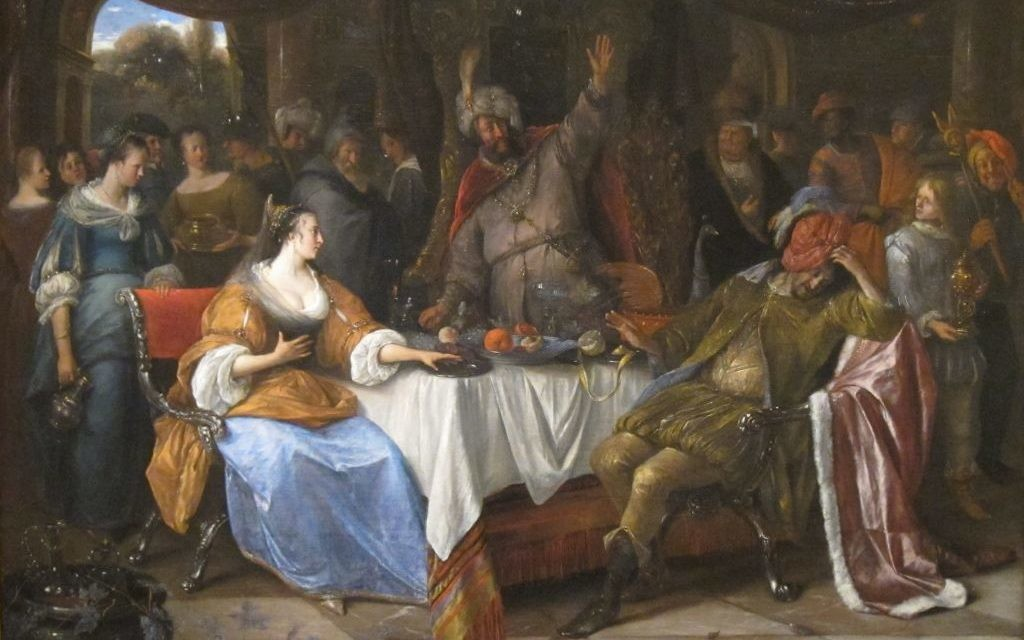 "Jan Steen's ""Esther, Ahasuerus, and Haman"" from 1668 reflects the uncertainty of Purim."