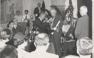 Photo courtesy of the American Technion Society Albert Einstein receives an honorary doctorate from the Technion in 1953.