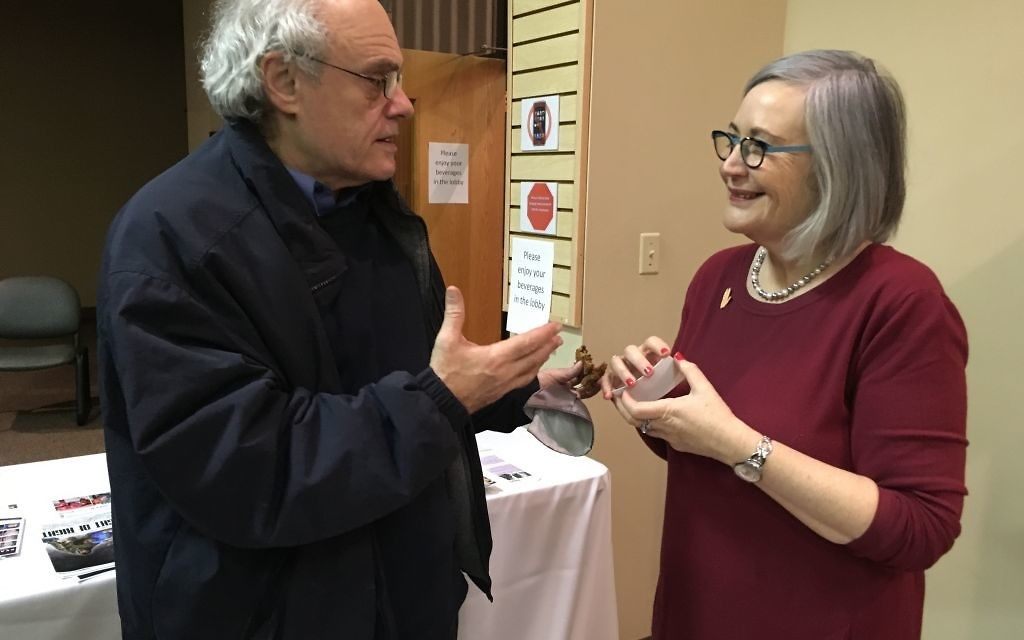 "Ken Stein speaks with Lesley Sachs about equal rights and gender equality after the presentation, during which he noted that ""Hatikvah"" calls for a free people in our land, not free men in our land."