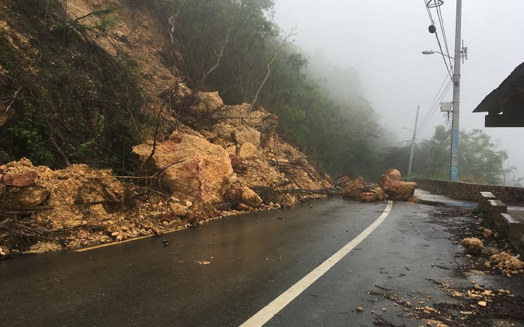 A landslide near Moca is typical of conditions across Puerto Rico after Hurricane Maria uprooted trees and destroyed vegetation. (Photo taken by a colleague and provided by Morris Maslia)
