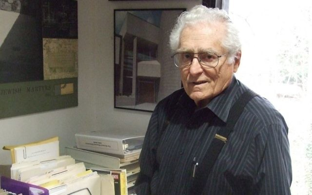Benjamin Hirsch talks about the Memorial to the Six Million in his home office in the spring of 2015, shortly before the Holocaust memorial's 50th anniversary.