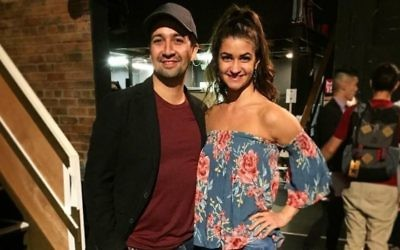 """Hamilton"" creator Lin-Manuel Miranda meets Jennifer Geller at the musical's opening night in Los Angeles."