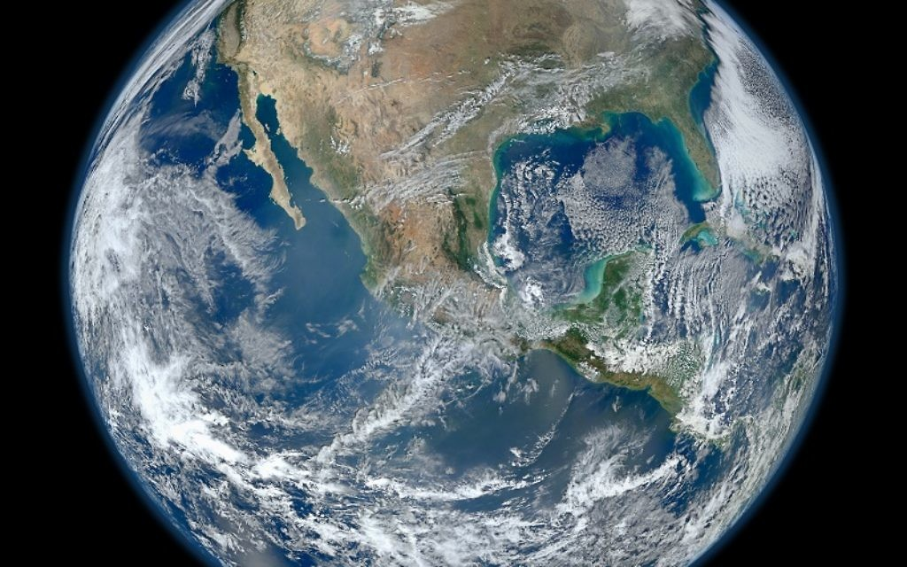 This image of Earth was taken by the Visible/Infrared Imager Radiometer Suite aboard NASA's Suomi NPP satellite on Jan. 4, 2012.