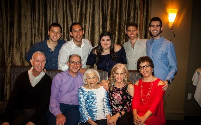 Birthday girl Roslyn Klarman is flanked by her children, David Klarman and Ellen Ackerman, and also joined by (front row) Larry Ackerman and Wendy Klarman and (back row, from left) Brian Klarman, Steven Klarman, Shelley Ackerman, Eli Klarman and Ben Ackerman.