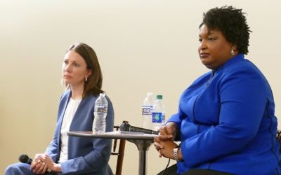 Stacey Evans and Stacey Abrams take questions from potential Jewish Democratic voters Feb. 22.