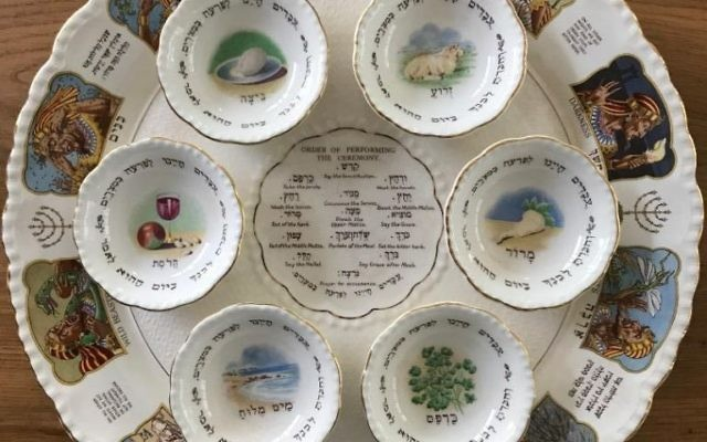This seder plate is from England in the 1920s. (Photo courtesy of Avie Geffen)