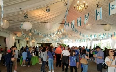 Inside the festival pavilion at Jewish Atlanta's Israel@70 celebration.