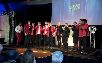 The red-and-black color scheme is a strong hint that the Accidentals a cappella group is from the University of Georgia.