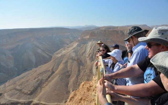 Rachel Schonberger peers into the Ramon Crater.