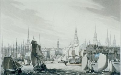 By Robert Bowyer (1758-1834) published this view of the port of Hamburg in 1814 (via Wikimedia Commons).