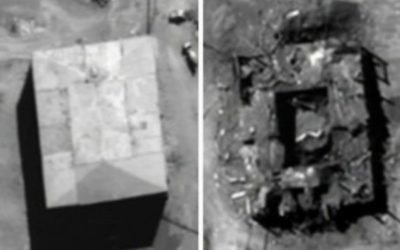 U.S. government photographs show the Syrian nuclear facility before and after the airstrike by Israel in 2007.