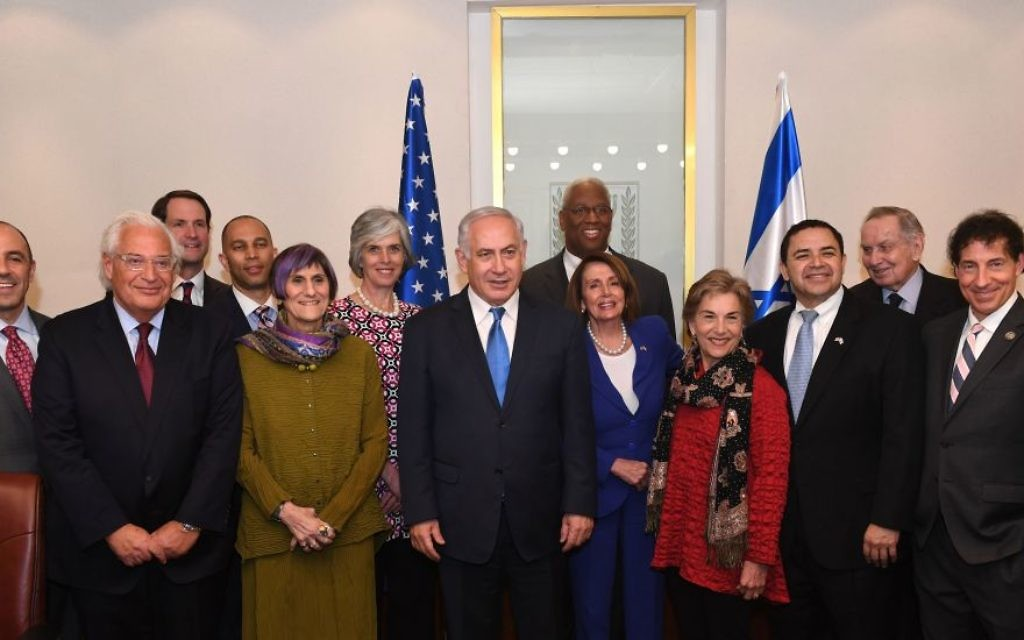 Israeli Prime Minister Benjamin Netanyahu welcomes a Democratic congressional delegation led by Nancy Pelosi to Jerusalem on Monday, March 26. Netanyahu's political rise paralleled CNN's surge in importance in the 1980s, and he was a regular CNN guest. (Photo by Kobi Gideon, Government Press Office)