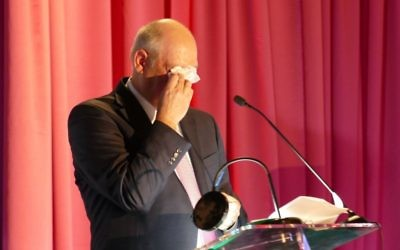 Dale Bearman proves he was telling the truth at the start of his Best Strokes speech when he said he's a crier.