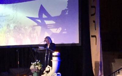 Ambassador Judith Varnai Shorer speaks at the Yom HaZikaron commemoration April 17 at The Temple.