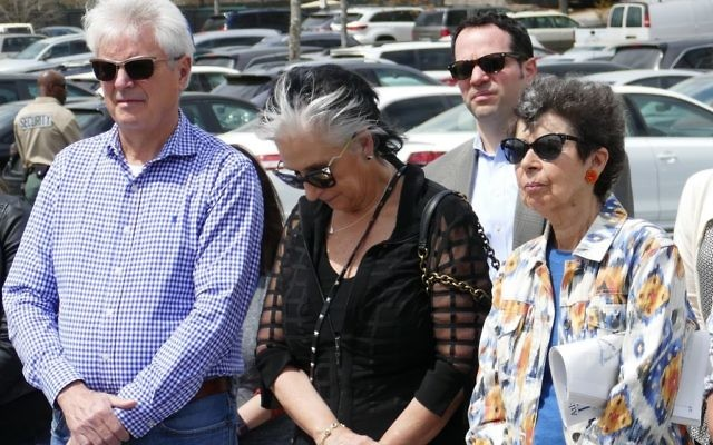 Mourners including Manuela Bornstein (right), who like Mireille Knoll escaped the July 1942 roundup of Jews in Paris, attend the memorial for Knoll on March 29. See a video of the ceremony at atlantajewishtimes.com.