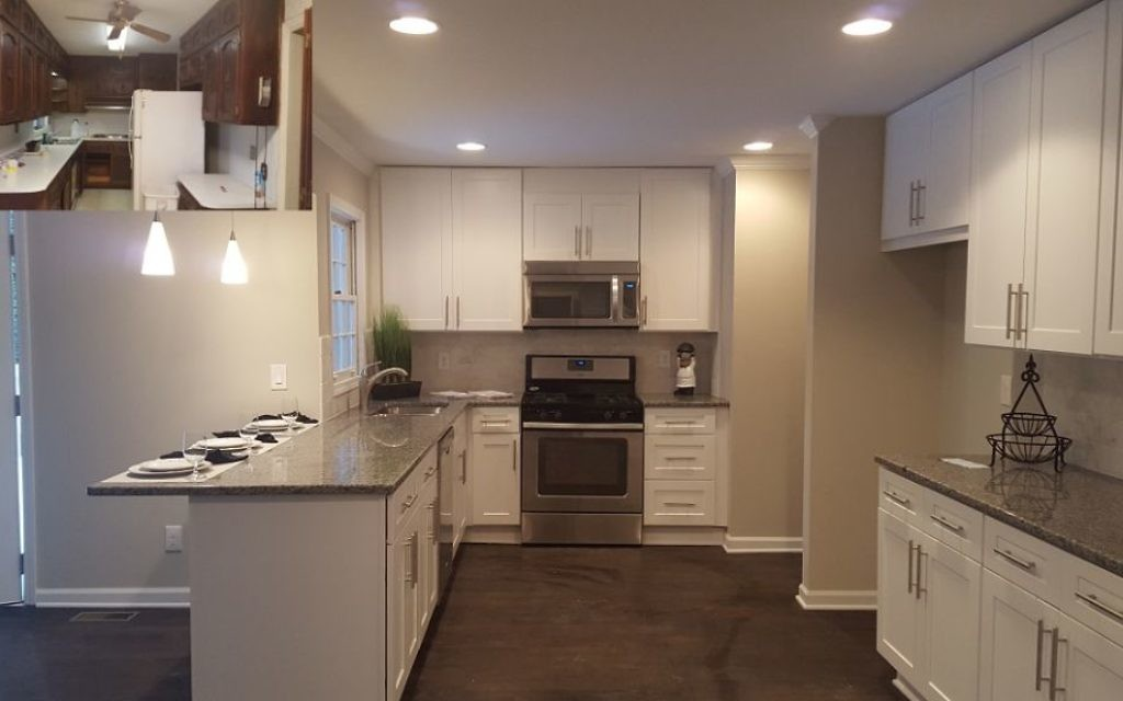 Robyn Anshell transformed this kitchen (the pre-renovation version is inset at the top left) during a flip.