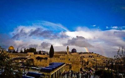 """This photo of Jerusalem's Old City was taken in 2014 by Atlantan Jacob Ross, who tells us the story behind the shot: """"I was working in the Old City. It had just rained, and I wanted to go to the Kotel, since it wouldn't be crowded. On the way down, I noticed there was a double rainbow over the Temple Mount, so I took the photo immediately. It was taken on my iPhone. Ten minutes after I took the picture, the rainbow had disappeared."""""""