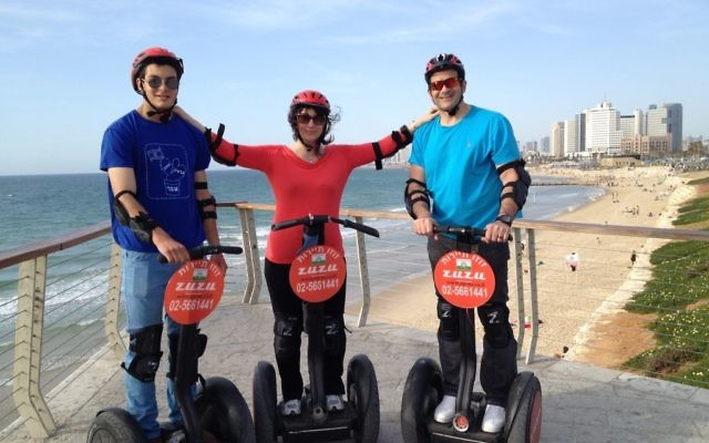 Tali Barel and her boys at the beach in Tel Aviv.