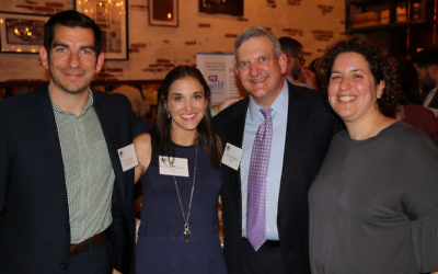 (From left) JELF Director of Development Josh Schaier, JELF CEO Jenna Shulman, board President Stan Lowenstein and JELF recipient Elizabeth Goldberg