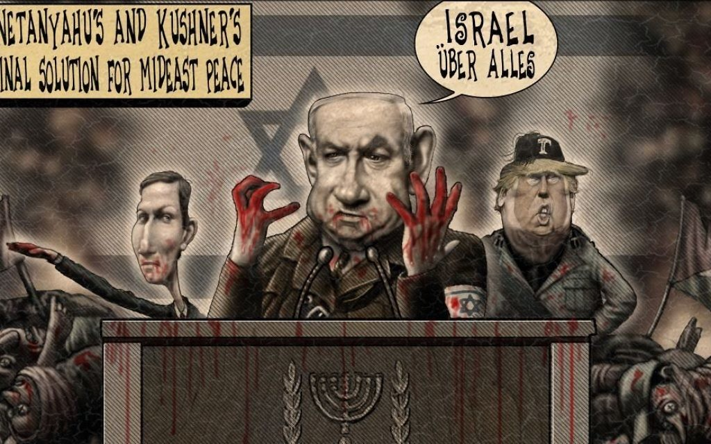 Even given editorial cartoonists' use of exaggeration for effect, how can anyone think this is a reasonable response to what happened on the Gaza-Israel border? (Cartoon by Sean Delonas, Cagle Cartoons)