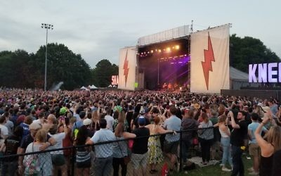Tenacious D performs for the large crowd at Shaky Knees on Sunday, May 6.