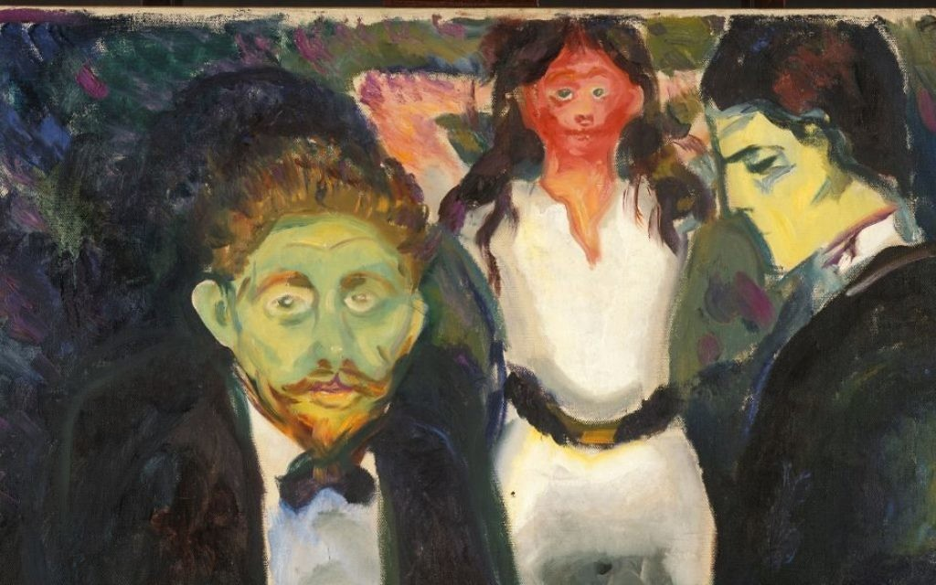 Edvard Munch returned to the subject of jealousy many times, including this piece, painted around 1907 and housed in the Munch Museum in Oslo.