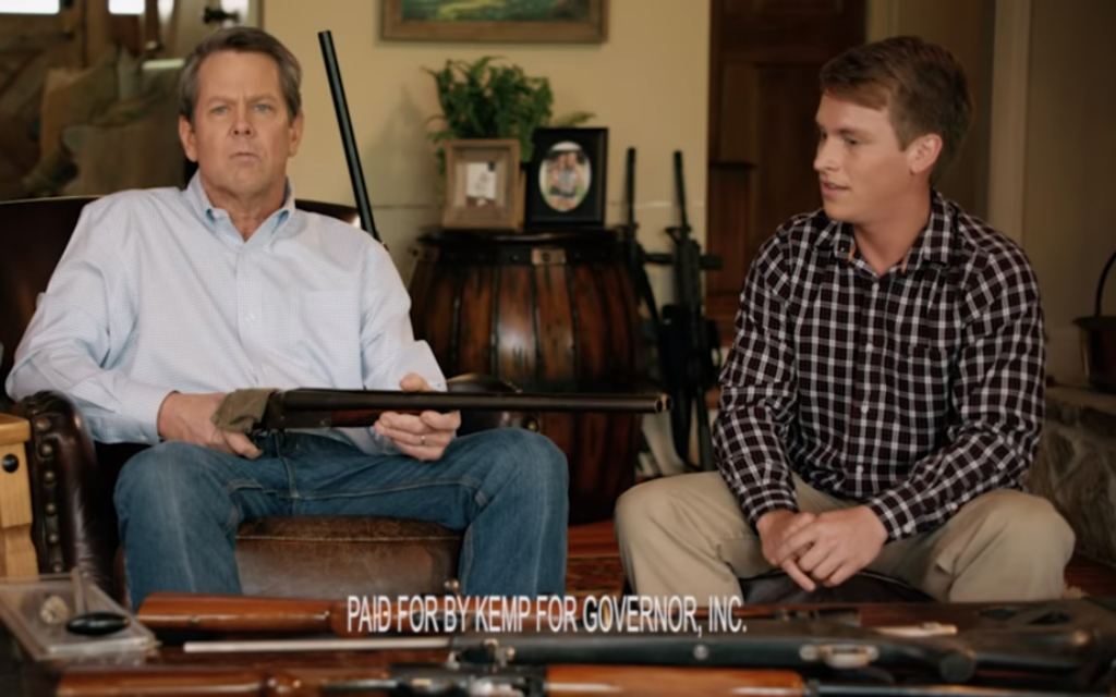If Brian Kemp's purpose with this ad was to troll gun-control advocates and produce lots of publicity, he succeeded. (YouTube screen grab)
