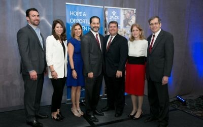 The Community of Caring luncheon brings together (from left) event co-chairs Joel and Staci Libowsky, annual campaign chair Robin Feldman; agency CEO Rick Aranson, President Michael Levy, and event co-chairs Cherie and Gary Aviv.