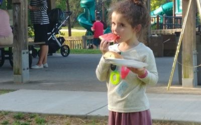 A slice of watermelon is refreshing on a warm afternoon.
