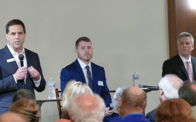 Kevin Abel answers an audience question at a Jewish Democratic Women's Salon forum April 9 while Stephen Knight Griffin and Bobby Kaple (right) listen. Lucy McBath did not attend the event. (Photo by Michael Jacobs)