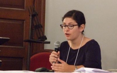 Shari Rabin discusses her research about 19th century American Jewish life on the frontier during the Southern Jewish Historical Society conference in Natchez, Miss., in November 2016.