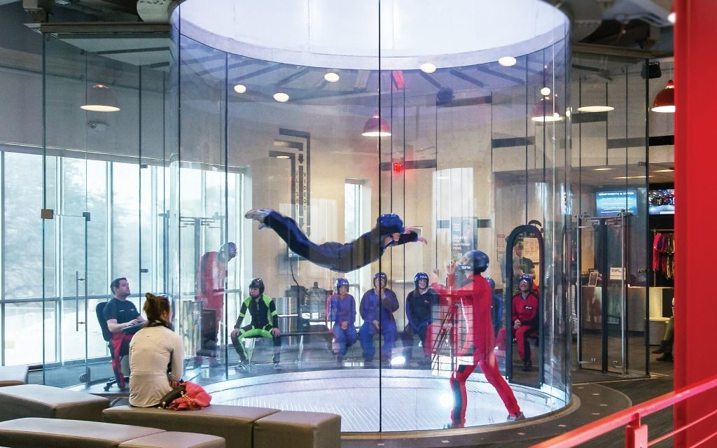 Winds of up to 100 mph suspend fliers in the tunnel at iFly. (Photo courtesy of iFly)