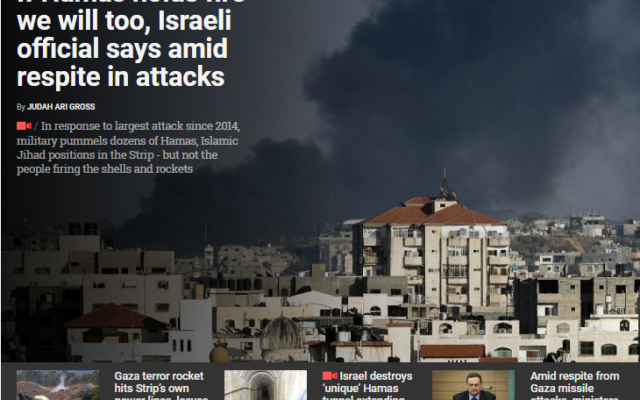 A screen grab from The Times of Israel, your source for the latest updates on violence between Gaza and Israel.