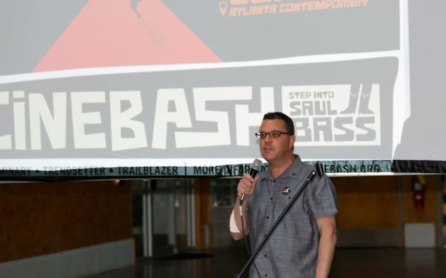Kenny Blank, AJFF executive director, speaking at this year's Cinebash film party.
