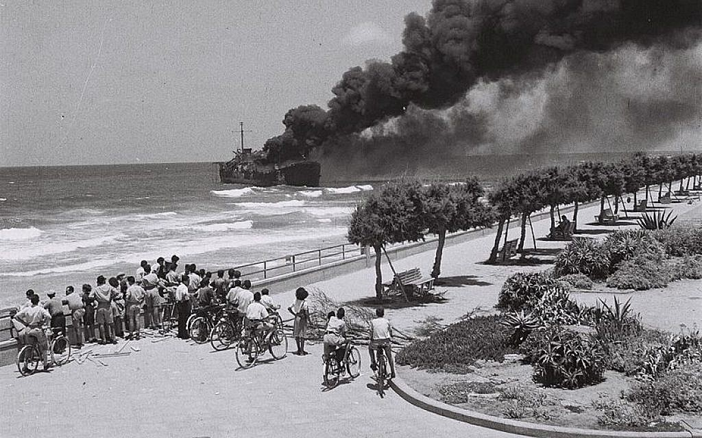 June 22, 1948, the ship Altalena burns after being shelled near Tel Aviv. (photo credit: Israel Government Press Office)