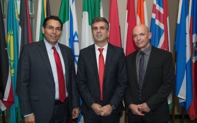 (From left) Ambassador Danny Danon, Economy Minister Eli Cohen, and Defense Research and Development Directorate head Daniel Gold, who spoke about Israeli innovations in security, attend the U.N. forum May 30. (Photo by Alexi Rosenfeld)