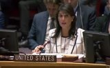 Nikki Haley, the U.S. ambassador to the United Nations, criticizes her colleagues' refusal to label Hamas as a terrorist organization at a U.N. Security Council debate May 30. (U.N. live-stream screen grab)