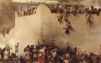 Historic Tisha B'Av painting depicting the Destruction of the Temple of Jerusalem. (By Francesco Hayez)